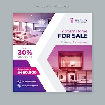 Publicación en redes sociales para plantilla de diseño de bienes raíces o venta de viviendas