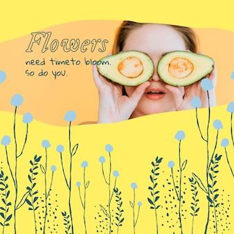 Publicación de redes sociales de plantilla editable floral estética con cita inspiradora y foto