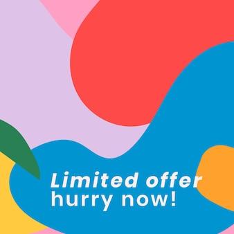 Publicación de redes sociales de plantilla de venta abstracta colorida