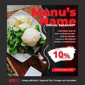 Publicación en redes sociales para la promoción de alimentos
