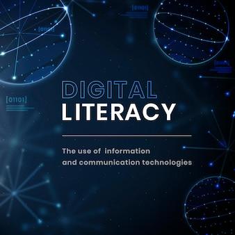 Publicación de redes sociales de tecnología de vector de plantilla de educación de alfabetización digital