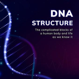 Publicación de redes sociales de vectores de plantilla de biotecnología de estructura de adn