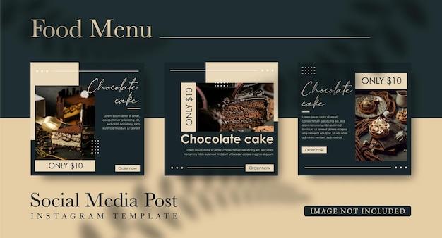 Publicación en redes sociales para la venta de pasteles de chocolate