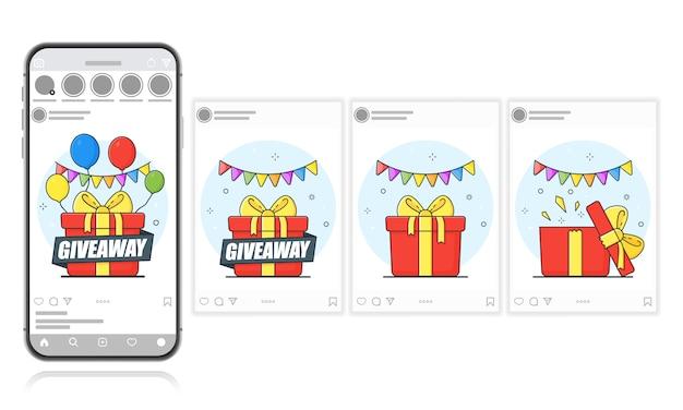 Publicación de regalo en la pantalla de un teléfono inteligente