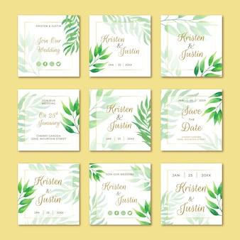 Publicaciones de boda en redes sociales con hojas