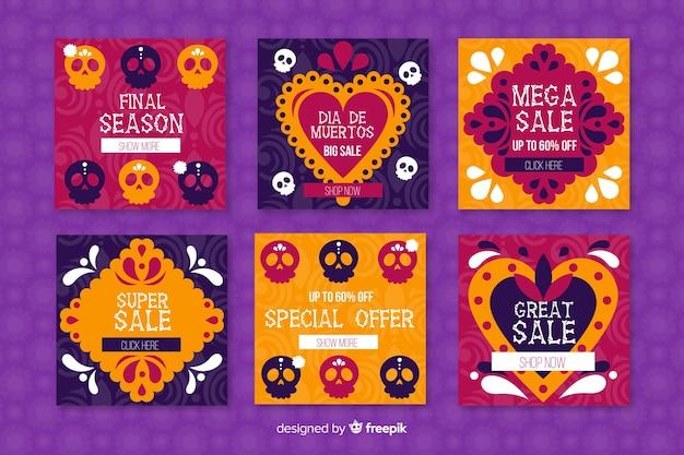 Publicaciones coloreadas del día de muertos para redes sociales