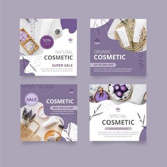 Publicaciones cosméticas en redes sociales