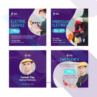 Publicaciones de electricista en redes sociales