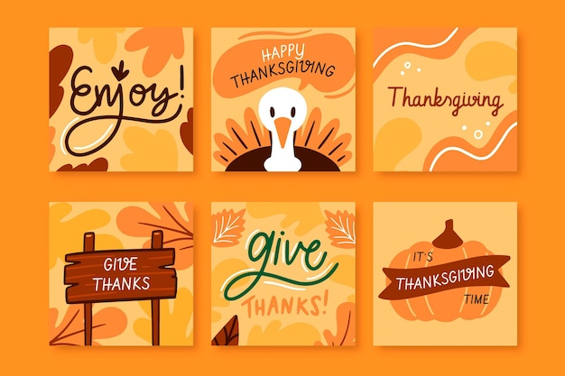 Publicaciones de instagram de acción de gracias dibujadas a mano