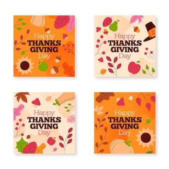 Publicaciones de instagram de acción de gracias en diseño plano