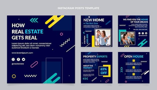 Publicaciones de instagram de bienes raíces geométricas de diseño plano