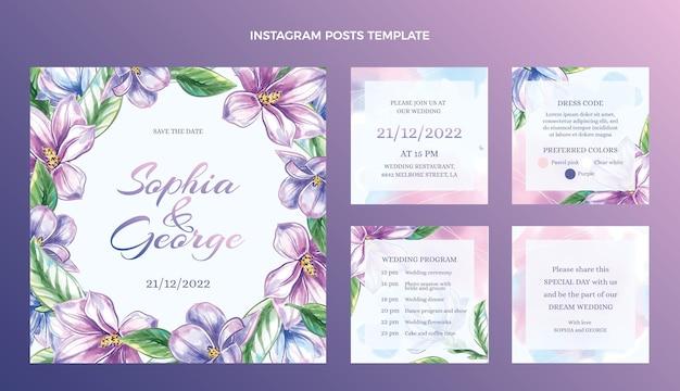 Publicaciones de instagram de boda dibujadas a mano en acuarela