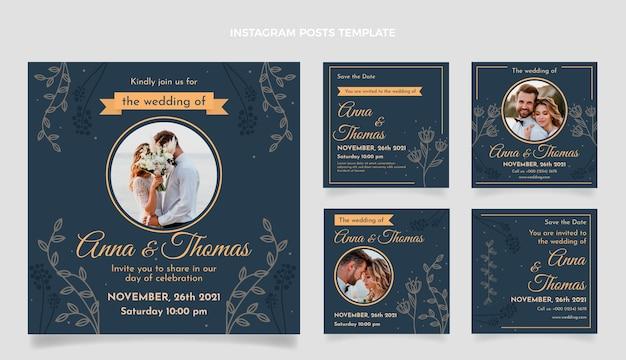 Publicaciones de instagram de boda floral dibujadas a mano