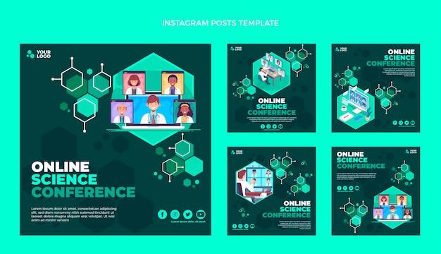 Publicaciones de instagram de ciencia de diseño plano
