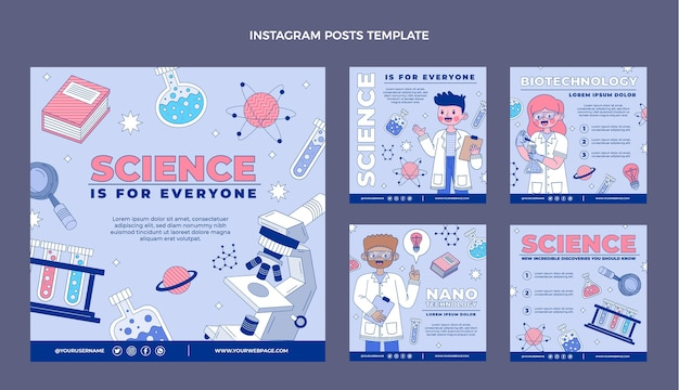 Publicaciones de instagram de ciencia plana