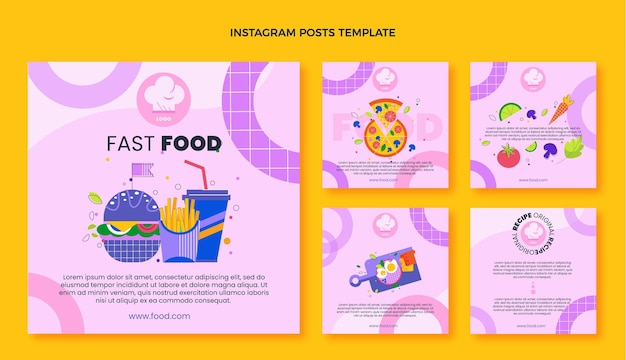 Publicaciones de instagram de comida rápida de diseño plano