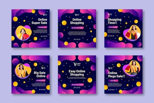 Publicaciones de instagram de compras en línea vector gratuito