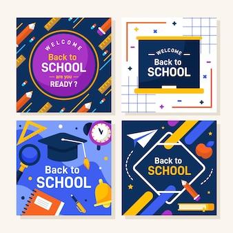 Publicaciones de instagram del concepto de regreso a la escuela