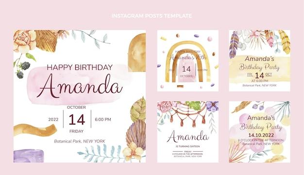 Publicaciones de instagram de cumpleaños boho acuarela