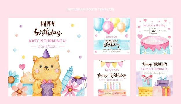 Publicaciones de instagram de cumpleaños dibujadas a mano en acuarela