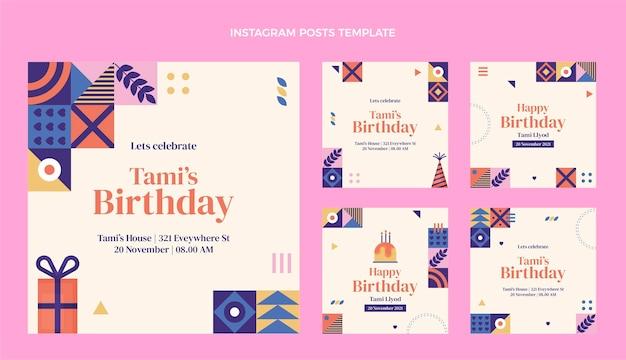 Publicaciones de instagram de cumpleaños de mosaico de diseño plano