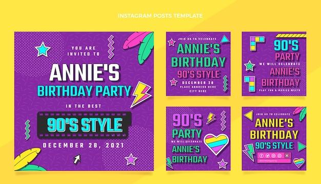 Publicaciones de instagram de cumpleaños nostálgico de diseño plano de los 90