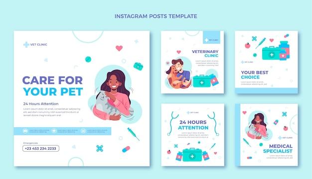 Publicaciones de instagram médicas de diseño plano