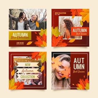 Publicaciones de instagram de otoño gradiente con foto