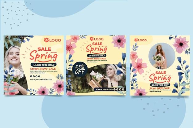 Publicaciones de instagram de rebajas de primavera plana