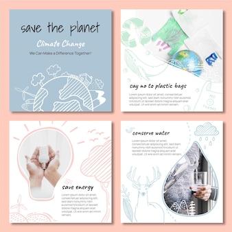 Publicaciones de instagram sobre cambio climático dibujadas a mano
