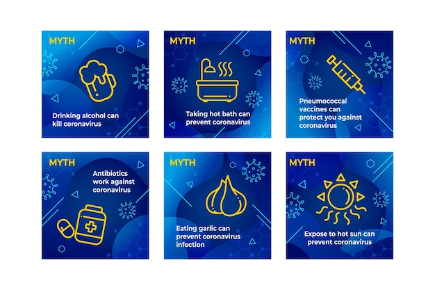 Publicaciones de instagram sobre mitos y hechos sobre el coronavirus