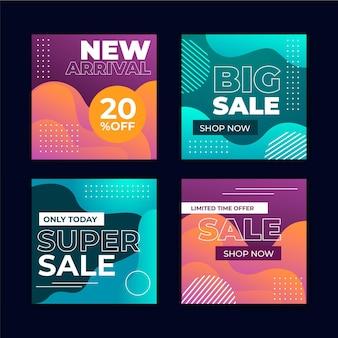 Publicaciones de instagram de ventas abstractas gradiente