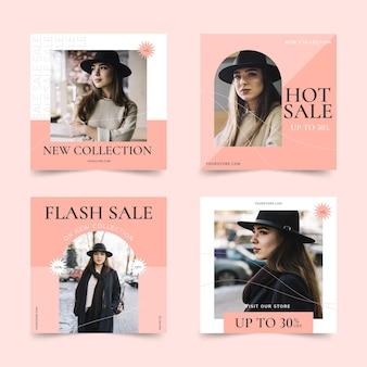 Publicaciones de instagram de ventas de diseño plano con fotos