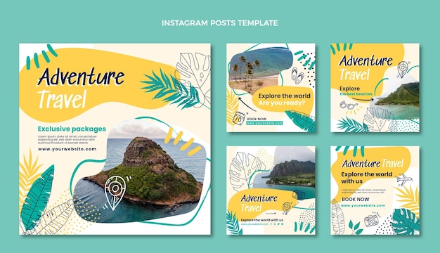 Publicaciones de instagram de viajes de aventura dibujadas a mano