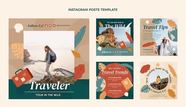 Publicaciones de instagram de viajes de diseño plano