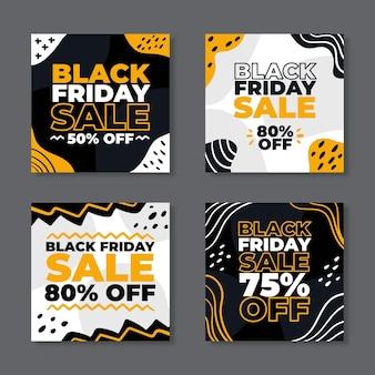 Publicaciones de instagram del viernes negro dibujadas a mano