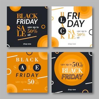 Publicaciones de instagram de viernes negro en diseño plano