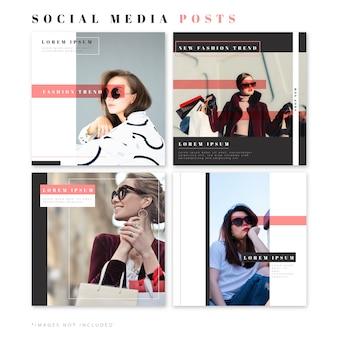 Publicaciones de moda para redes sociales.