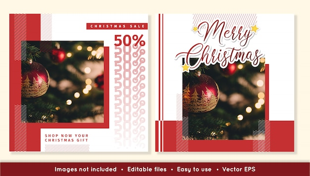 Publicaciones de rebajas navideñas para redes sociales