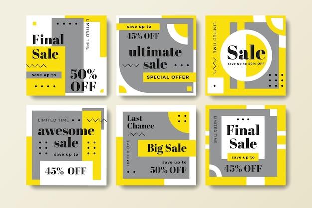 Publicaciones de redes sociales amarillas y grises
