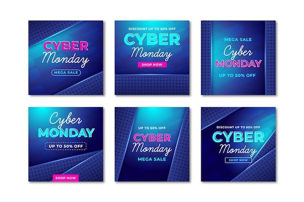 Publicaciones en redes sociales de cyber monday