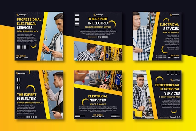 Publicaciones en redes sociales de electricista hombre