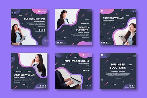 Publicaciones de redes sociales de mujer de negocios