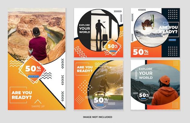Publicaciones en redes sociales y plantillas de historias colección de pancartas de viaje