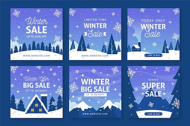 Publicaciones de redes sociales de rebajas de invierno