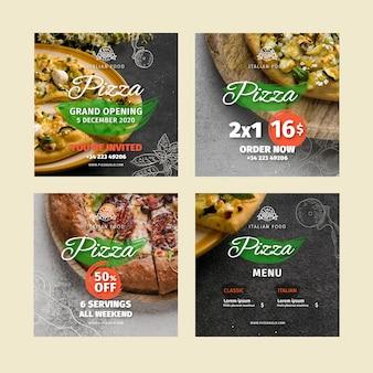 Publicaciones en redes sociales de restaurantes de pizza