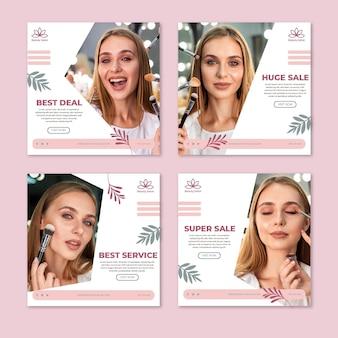Publicaciones en redes sociales de salones de belleza