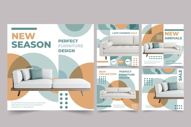 Publicaciones de redes sociales de venta de muebles con foto