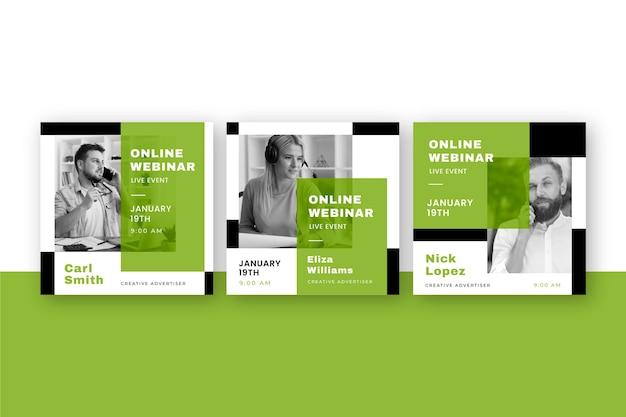 Publicaciones de seminarios web en redes sociales