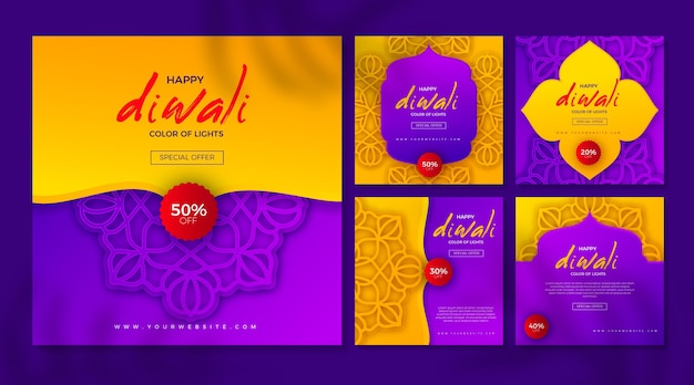 Publicaciones de venta de instagram de eventos de diwali
